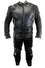 2pc Perrini Ghost II Motorcycle Racing Leather Suit with Metal Waist Zipper