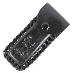 "TheBoneEdge Black 4"" Tactical knife Leather Sheath for a Knife Belt Loop"