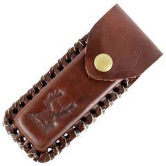 "TheBoneEdge Brown 4"" Tactical knife Leather Sheath for a Knife Belt Loop"