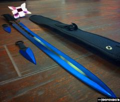 "27"" / 7"" Blue 2 Tone Blade Sword with Sheath Stainless"
