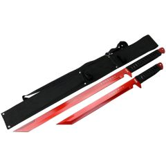 """Defender Xtreme 26"""" / 18"""" Stainless Steel Red Blade Sword with Sheath"""