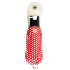 Snake Eye Pepper Spray 1/2 Oz For Self Defense W/ Designer Red Bling Sheath Key Chain