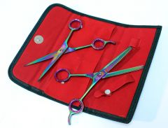 Professional Hair Cutting Multi Color Razor Edge Barber & Thinning Scissors 2 pc