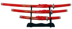 3 Pc Japanese Samurai Katana Sword Set Ninja