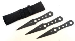 Set of 3 All Black Throwing Knives with Sheath
