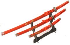 3 Pc Red Katana Ying Yang symbol Sword Set