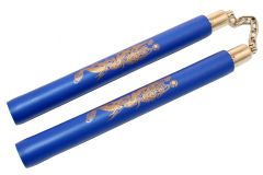 "12"" Blue Foam Padded NunChucks Chained Metal Swivel"