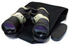 30X50 Black & Tan Free Focus Binoculars 119M/1000M With Strap Pouch