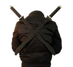 2Pc Black Stainless Steel Ninja Assassin Twin Swords Set